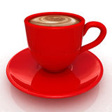 Red cup of coffee with milk Stock Photography