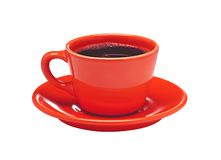 Red cup of coffee on plate isolated on white Stock Images