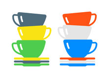 Red cup coffee tea or drink cafe morning beverage kitchen accessory flat vector. Royalty Free Stock Photo