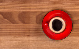 Red cup of coffee top view Stock Photography