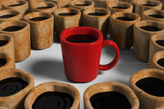 Red cup among dirty cups Royalty Free Stock Images