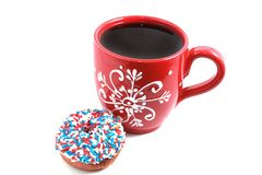 Red cup with donut Stock Images