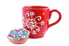Red cup with donut Stock Image