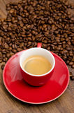 Red cup with Espresso Stock Images