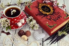 Red cup of flower tea with black candles, candies and witch book on table. Occult, esoteric and divination still life. Halloween background with vintage objects stock photos
