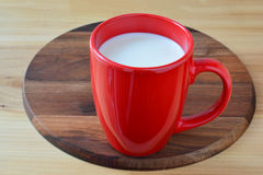 Red cup of fresh milk Stock Photos