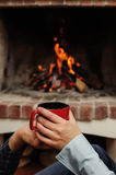 Red cup in the hands of men and women Royalty Free Stock Photography