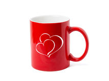 Red cup with hearts Royalty Free Stock Images