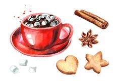 Red Cup of hot chocolate with marshmallow, cinnamon stick and star anise and Christmas cookies set. Watercolor hand drawn illustra. Tion isolated on white stock illustration