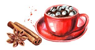 Red Cup of hot chocolate with marshmallow, cinnamon stick and star anise. Watercolor hand drawn illustration isolated on white bac. Kground royalty free illustration