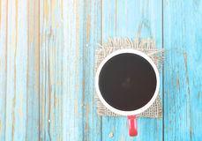 Red cup of hot coffee Stock Image