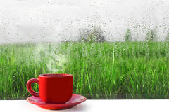 Red Cup of hot coffee on the table. The view from the window on nature. Wet fog on the window after rain. Royalty Free Stock Photography