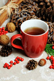 Red cup with hot tea Stock Photography