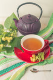 Red cup of linden tea Stock Photography