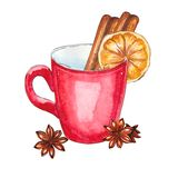 Watercolor cup with cinnamon and lemon royalty free illustration