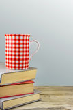 Red cup over books on grey background. Royalty Free Stock Image
