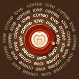 Red cup of rippled heart in Latte art Royalty Free Stock Photo