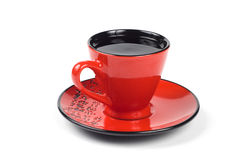 Red cup and saucer Stock Photos