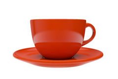 Red cup with a saucer Stock Photo