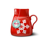 Red cup with snowflake, christmas motive Stock Photo