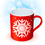 Red Cup and Snowflake Royalty Free Stock Photography