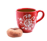 Red cup with sugar donut Stock Images