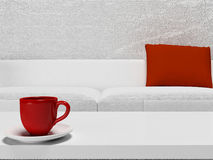 Red cup on the table Stock Photos