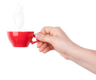 Red cup of tea or coffee in hand Royalty Free Stock Images