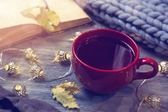 Red cup of tea. Garland and wool blanket stock photos