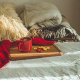 Red cup of tea with kumquat and two hearts cookies on a white bed. Cozy Home. Valentines day concept.  royalty free stock photo