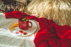 Red cup of tea with kumquat and two hearts cookies on a white bed. Cozy Home. Valentines day concept royalty free stock photos