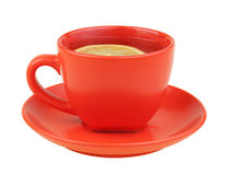 Red cup of tea with lemon Stock Images