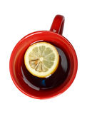 Red cup of tea with lemon Royalty Free Stock Photos