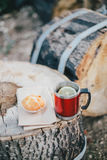 Red cup with tea and lemon and cookies on a wooden log Royalty Free Stock Photography