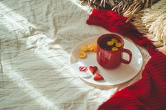 Red cup of tea and two hearts cookies, a note with a kiss on a white bed. Cozy Home. Valentines day concept.  stock images