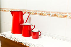 Red cup and teapot Royalty Free Stock Image