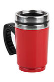 The red cup - thermos with black handle Royalty Free Stock Photos