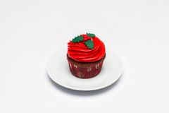 Red Cupcake on a light background stock photo