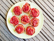 Red cupcakes Stock Photo