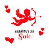 Red Valentines Day sale card. Red Cupid with arrow and bow, red hearts and text Sale Valentines Day. Seasonal sale cardl Royalty Free Stock Photography