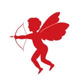 Red cupid - vector silhouette Royalty Free Stock Images
