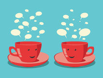 Red cups communicating Royalty Free Stock Photos