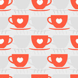 Red cups pattern. Red cups Valentines Day pattern. Vector illustration Royalty Free Stock Image