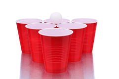 Red Cups and Ping Pong Ball Royalty Free Stock Photos