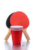 Red Cups and Ping Pong Ball Royalty Free Stock Photo