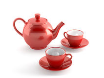 Red cups and teapot Stock Image