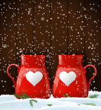 Red cups with white heart, winter theme. Two red cups with white heart on dark wooden background, winter theme, vector illustration, eps 10 with transparency and Stock Photography