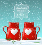 Red cups with white heart, winter theme Stock Photo