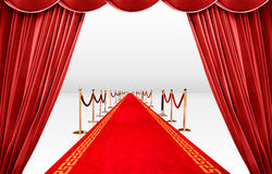 Red curatin and carpet. Red curtain with infinite carpet Royalty Free Stock Image