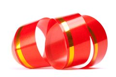 Red curl ribbon Royalty Free Stock Photography